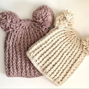 🆕 ❄️Two Cozy Knit Winter Hats (Taupe & Cream)❄️